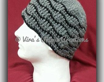 Crochet men beanie hat with black ripple line, crochet men hat, crochet men beanie, men crochet hat, men crochet beanie, made-to-order