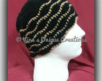 Crochet men black ripple beanie hat, crochet men hat, crochet men beanie, mens beanie, men crochet hat, men crochet beanie, made-to-order