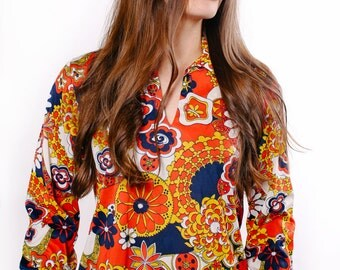 Vintage Mod Psychedelic Floral Groovy 1960's Cos Con Shirt Top