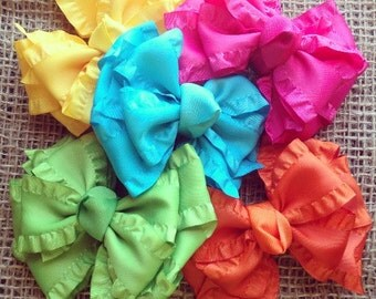 The brights, double ruffle bow set of 5, bright color bows, double ruffle bows, ruffle bows, bright double ruffle bows