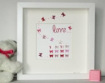 Pink and white 3D Butterfly Art, Butterfly Art, Nursery Art,  Girls Art, Square frame