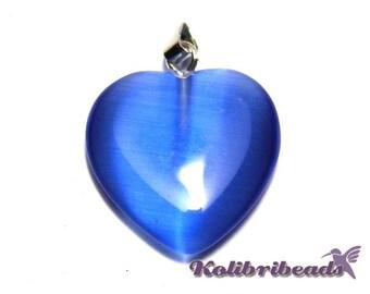 Cats Eye Glass Heart Pendant 20mm - Sapphire (1 pc.)
