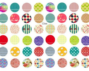 Pois et carreaux colorés 48 Images digitales/collage sheet pour cabochon 12mm Rond