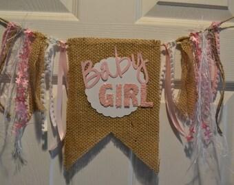 Baby Girl Burlap Banner