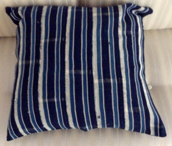 Blue Striped Throw Pillow Cover : Throw pillow cover. Blue/black/white/ stripes. by SuniqueCreations