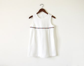 Vintage knit top / 70s white blouse top