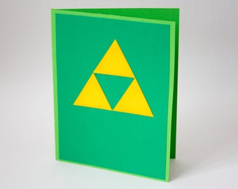 Tri Force Legend of Zelda Card, Blank Geeky Note Card