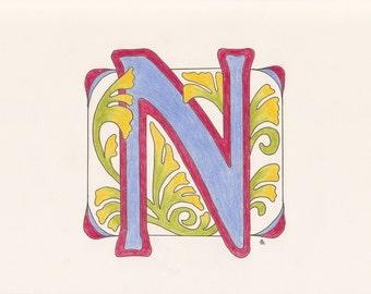 Monogram Initial, Art Deco Style N
