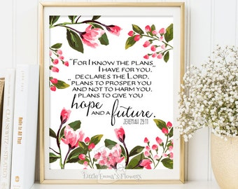 Nursery decor scripture art For I know the plans Printable Bible verse art Jeremiah 29 11 scripture print watercolor nursery download 111