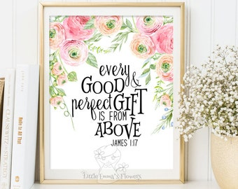 Wall art Bible Verse Art Printable Scripture decor James 1 17 printable scripture print kid bible verse Every good and perfect gift ID188