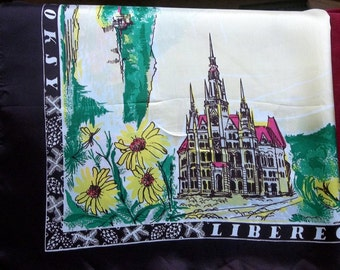 Vintage  Souvenir Scarf from Czech Republic  (Czechoslovakia 1970's)
