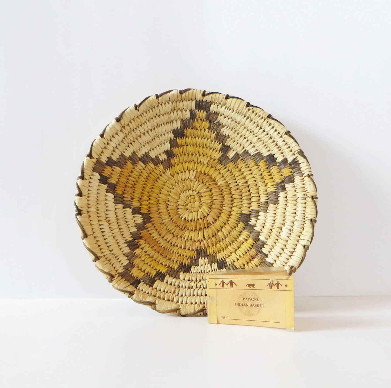 Handmade American Baskets : Native american woven basket papago indian bowl