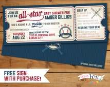 Vintage Baseball Shower Invitation  // All Star Little Slugger  Baby Shower // FREE sign with purchase - PRINTABLE