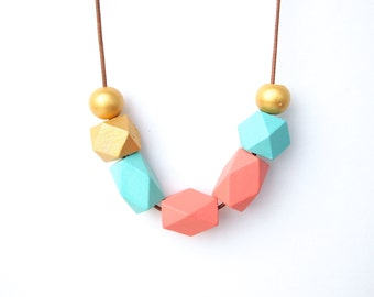 Geometric Necklace -  Hand Painted Wooden Beads Necklace - Geometric Jewelry - Sweety Mint