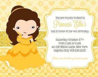 Princess Belle Invitation, Princess Party Invitation, Princess Belle Party Invite, Princess Belle Birthday invitation, PRINTABLE