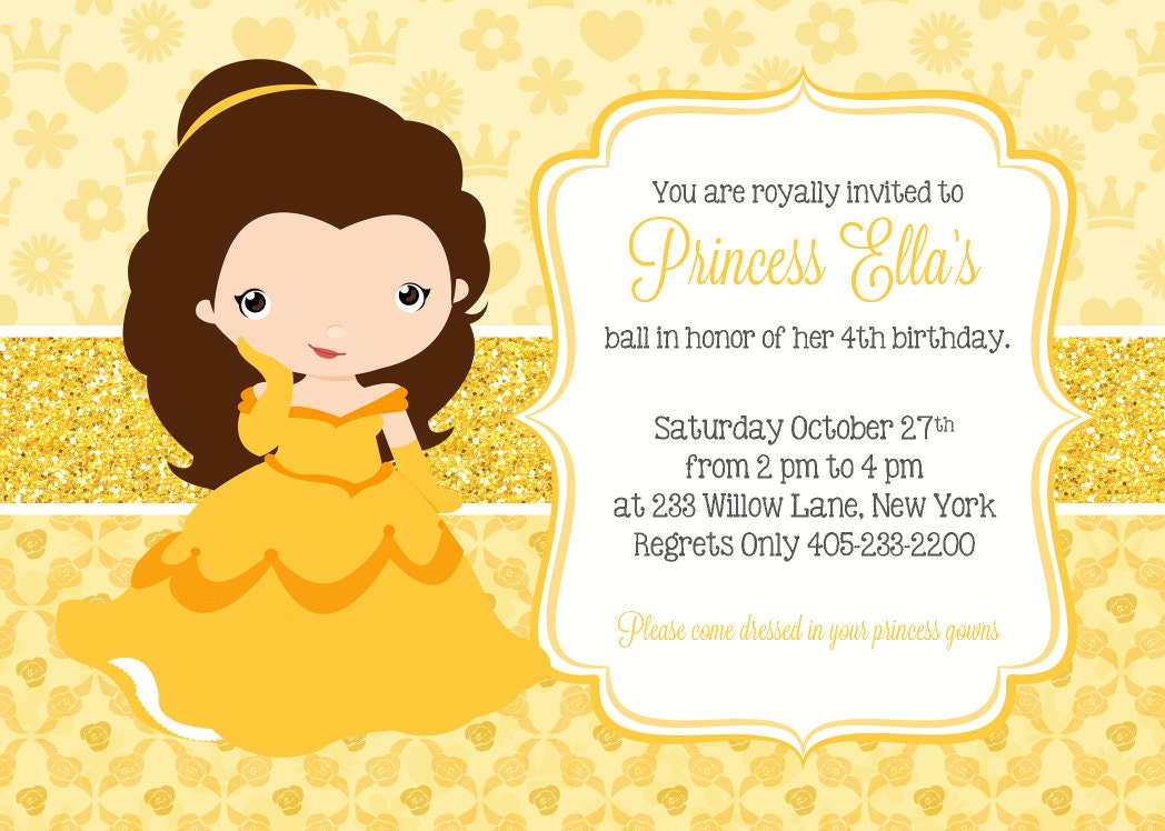 princess belle invitation princess party invitation princess, Birthday invitations