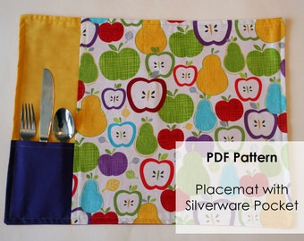 PDF Sewing Pattern for Placemat with Silverware Pocket