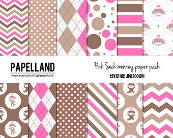 PINK Sock Monkey Digital Paper Pack, pink sock monkey paper digital, pink and Brown digital