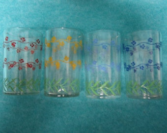 Swanky Swig Juice Glass Set of 4 Forget-Me-Not Red Blue Yellow Turquoise