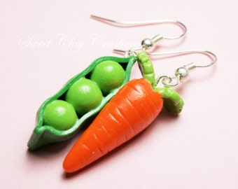 Peas and Carrot Earrings Miniature Food Jewelry Polymer Clay Handmade Gift Girl Sterling Silver