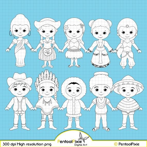 Unity Line Art Map : Children around the world digital stamp clipart by
