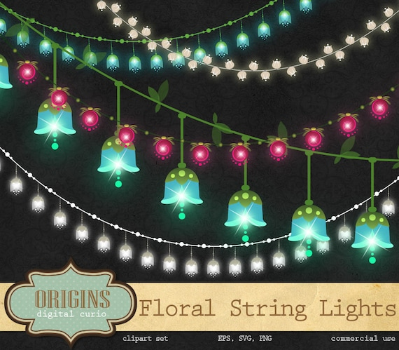 Floral String Lights Clipart wedding string lights fairy