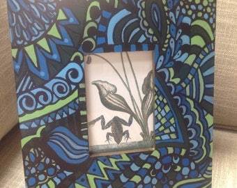 Hand Painted Zentangle picture frame