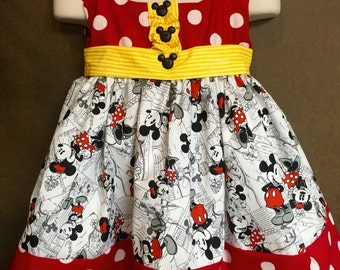 Minnie and Mickey Mouse  little girl dress