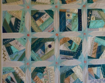 Crazy Quilt Wall Hanging  Hand Embroidered
