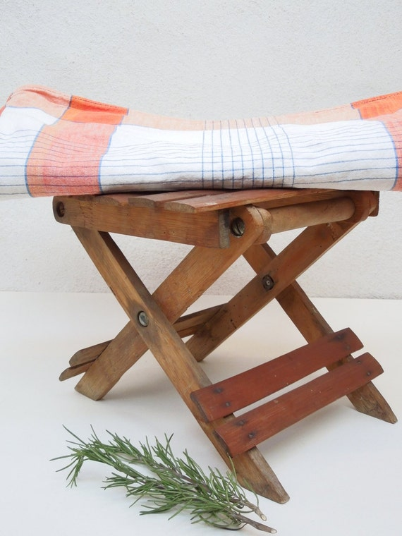 small bamboo folding stool seat table french vintage wood. Black Bedroom Furniture Sets. Home Design Ideas