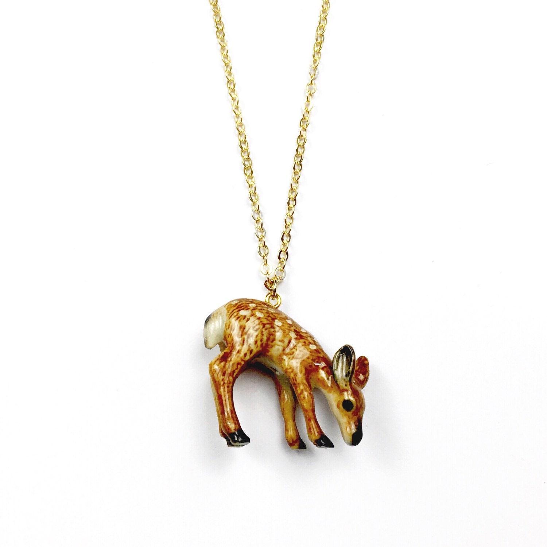 ceramic deer necklace porcelain animal jewelry by auberginefox