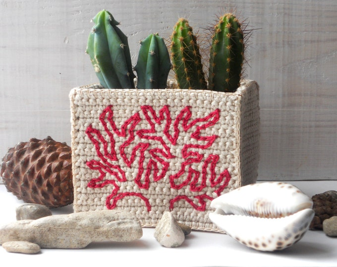 Nautical Decoration - Coral Embroidery on Sandy Basket - Nautical Storage - Nautical Decor - Beige Home Decoration - Ocean Decor