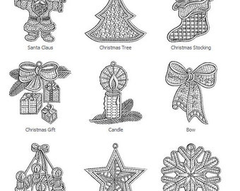 Christmas Lace machine embroidery 22 designs For only 5.99 dollar