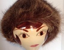 Sm/Med Vincent +Bill Fox Dark Brown Fur Hat, Chocolate vintage racoon fur hat, 1960s fur hat, 1970s fur hat, Vincent and Bill Fur