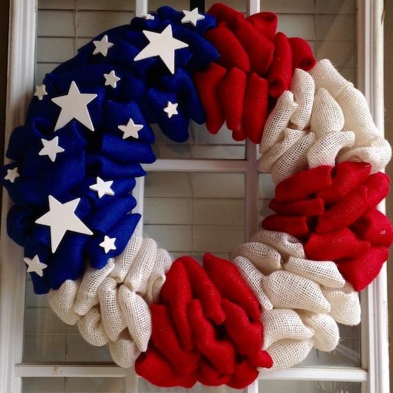 Patriotic Wreath Burlap Wreath 4th Of July Wreath Summer