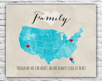 Family Print, Close Together Far Apart - Family Gift, We We Live, Personalized Art, Wall Canvas, State Map, Gift for Parents, Grandparents