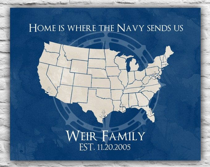 Gift for Navy Family, Going Away Gift, Military Family, Hail and Farewell, Navy Wife, Anchor, Long Distance, Overseas Map Where We've Lived