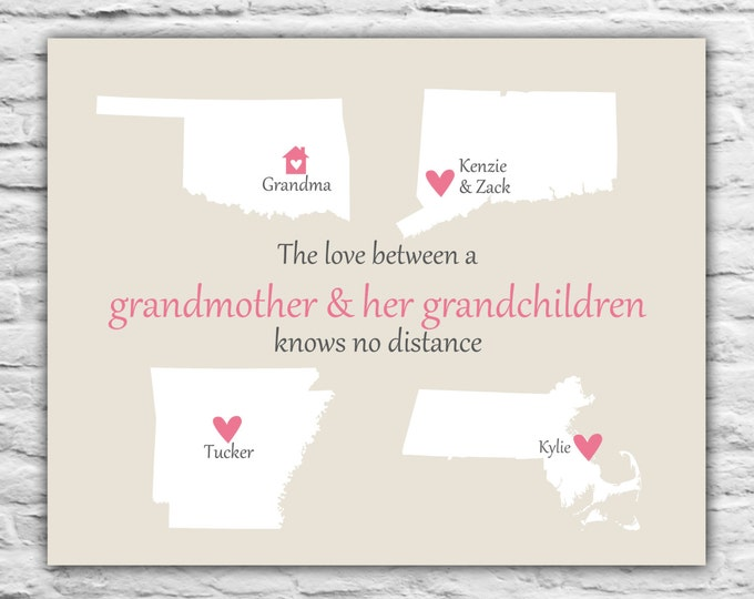 Christmas Gift for Grandma Grandmother Mom - Personalized Art Print 8x10 Christmas Gift Ideas, From Grandchildren, Long Distance, State Map