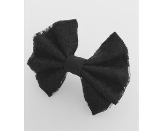 Small Black lace hair bow