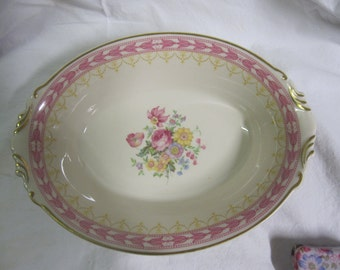 Shabby Chic Pink and Yellow Serving Bowl