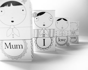 Mother's day 3D card, paper matryoshka, I love you Mum, DIY, instant download