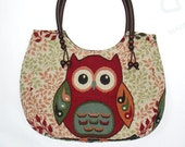 20% off [orig. 16.99]Owl tote bag medium Handbag Vintage Style Cotton purse Hobo bag shoulder bag