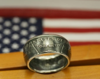 90% Silver Morgan Dollar Coin Ring. Custom Made Coin Rings  For You. Years 1878 -1921, Sizes 10-15 1/2