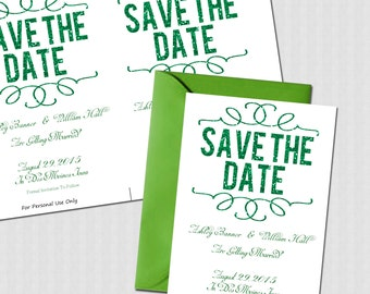 electronic save the date template - popular items for digital green on etsy