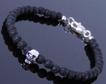 Men's Women Lava Rock Sterling Silver Skull Bracelet  925 Clasp DiyNotion Handmade BR288