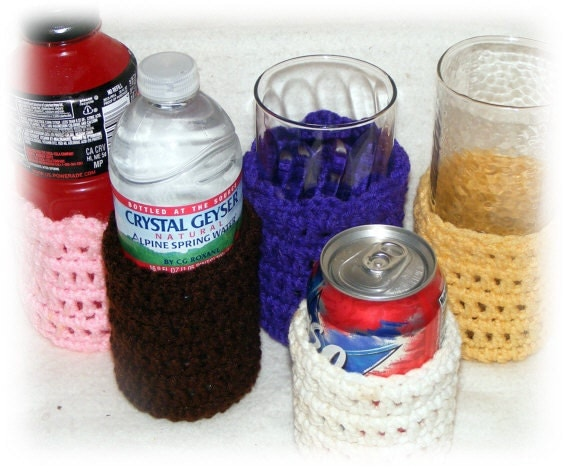 DRINK & GLASS COZEES, hand crocheted, in any color. . . Made To Order