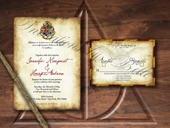 harry potter wedding invitations harry potter inspired wedding invitation set owl crest spell 4735