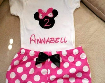 minnie mouse birthday outfit personalized monogram