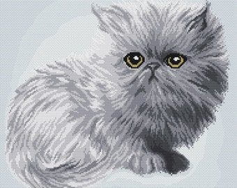 "Cross stitch pattern ""Gray kitten"""