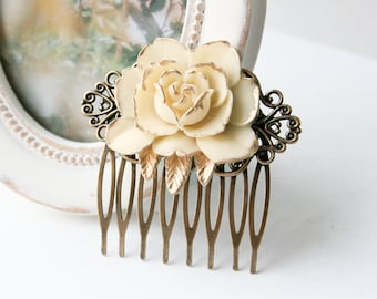 Vintage Ivory Rose Comb Romantic Wedding Flower Comb Bridesmaid Gift Bridal Hair Comb Shabby Chic